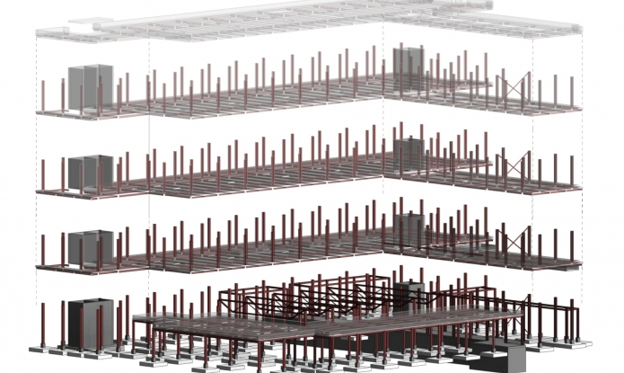 Model BIM - Industrial Park - Detail of the Metallic Structure