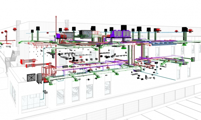 Model BIM - Industrial Park - Detail of Mechanical Installations